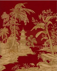 iksel exotic chinoiserie behang rood