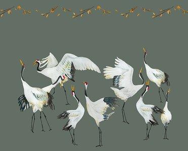 Catchii behang Japanese Crane Dance behang groen