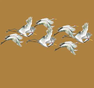 Catchii Flying Cranes Behang - Okergeel