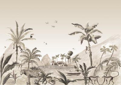 Catchii Jungle Landscape Behang - Sepia
