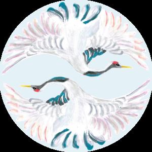 Catchii Blauwe Kraanvogels Behangcirkel