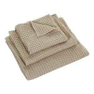 Wafel handdoek linen 770 Pousada collectie Abyss Habidecor handdoeken stapel