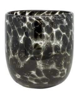 Waxinelichthouder Glas Zwart Panter