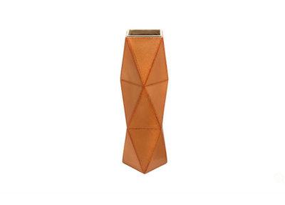 Luxe Vaas Geometrisch Kunstleer Tan