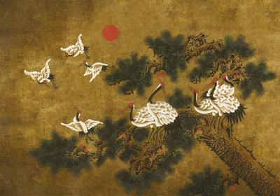 Coordonne Ukiyo Behang Met Kraanvogels Coordonne Random Chinoiserie Behang 7900073