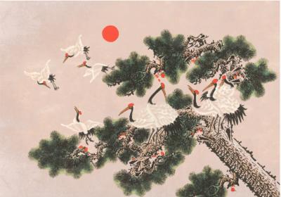 Coordonne Ukiyo behang 7900072 kraanvogels chinoiserie