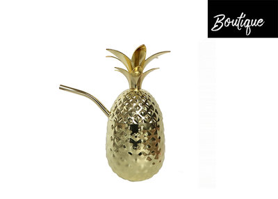 Gouden Ananas Tumbler Metal Pineapple With Straw Gold Luxury By Nature Boutique